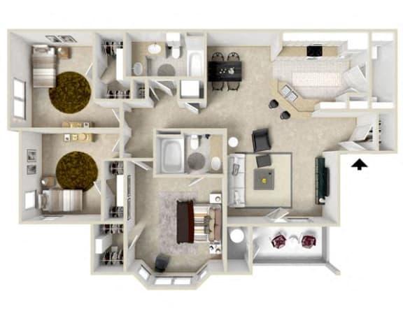 3 Bed, 2 Bath Floor Plan at Charleston Apartment Homes, Mobile, Alabama