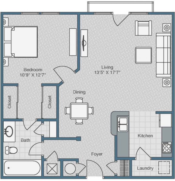 1 Bed 1 Bath Floor Plan at Sterling Magnolia Apartments, Charlotte, 28211