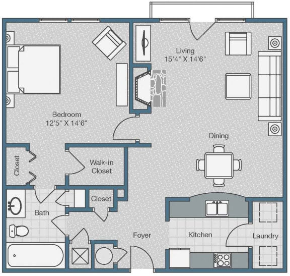 1 Bedroom and 1 Bath Floor Plan at Sterling Magnolia Apartments, Charlotte, 28211