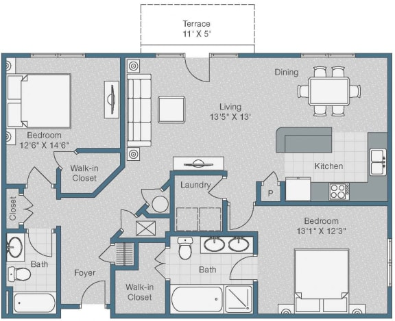 2 bedroom 2 bath Floor Plan at Sterling Magnolia Apartments, Charlotte, NC