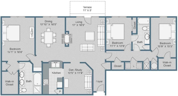 3 bedroom 2 bath Floor Plan at Sterling Magnolia Apartments, Charlotte, NC, 28211