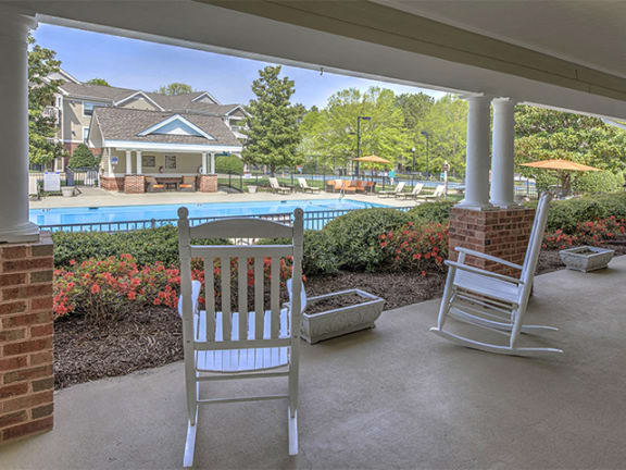 Clubhouse With Pool View at Cambridge Apartments, Raleigh, North Carolina
