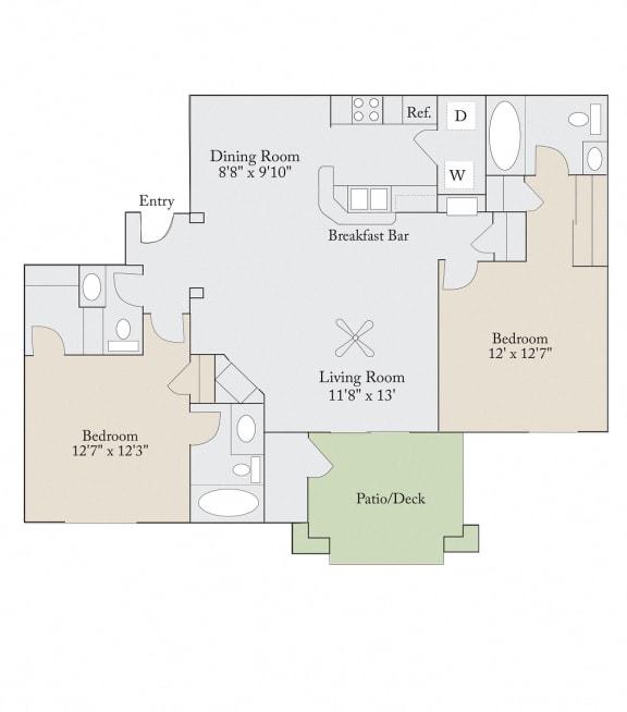 Floor plan at Cambridge Apartments, Raleigh, NC