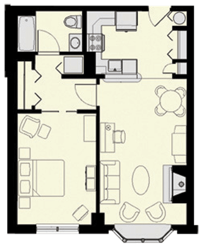 Floor plan at Marion Square, Brookline, MA