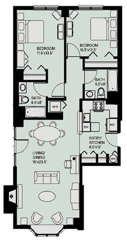 Floor plan at Marion Square, Massachusetts, 02446