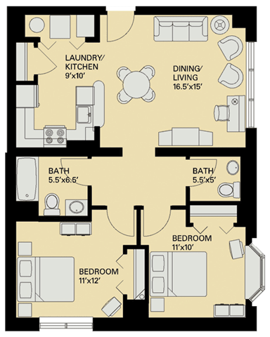 Floor plan at Marion Square, Massachusetts