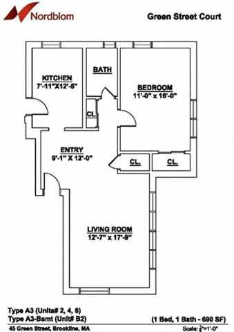 Floor plan at Green Street, Brookline