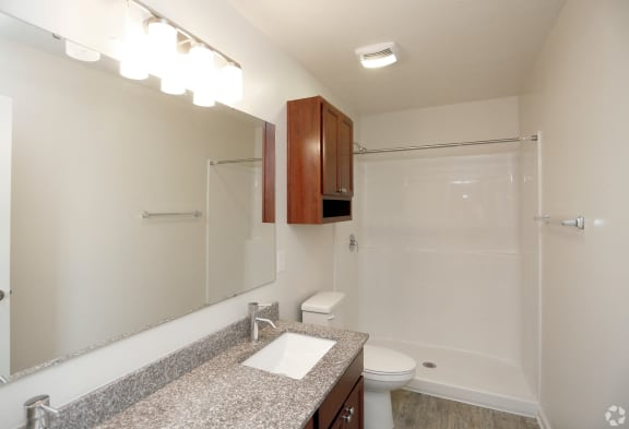 Renovated Bathrooms With Quartz Counters at Hawthorne Properties, Lafayette, IN, 47905