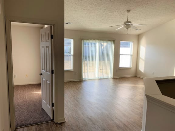 Look into Master Bedroom and Living Room Area at Hawthorne Properties, Lafayette, Indiana