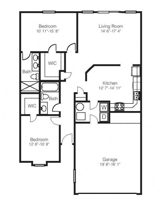 2 Bed, 2 Bath Floor Plan at Hawthorne Properties, Lafayette, Indiana
