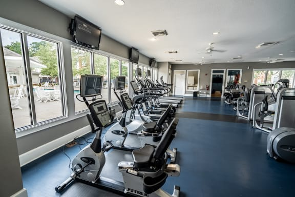 workout equipment in the fitness center at 700 Acqua