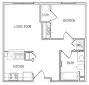 Floor Plan  1 Bedroom 1 Bathroom Floor Plan, opens a dialog