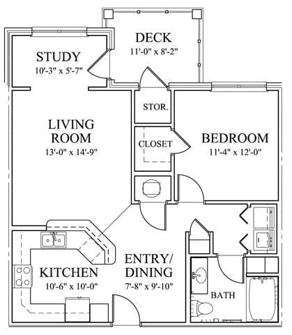 One Bedroom Floorplan at The Enclave at Pamalee Square Apartments