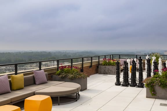 Rooftop Terrace with Cushy Seating, Daybeds, Eating Areas and Giant Chess at Aurora, North Bethesda, MD,20852