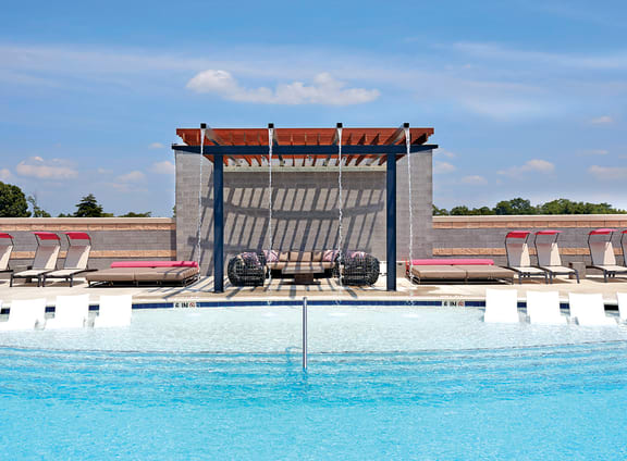 Resort-Style Pool with Sun Shelf at Aurora, North Bethesda, Maryland