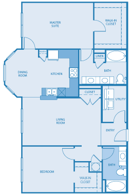 South Haven Floor Plan at Towne West Apartments, Houston, 77082