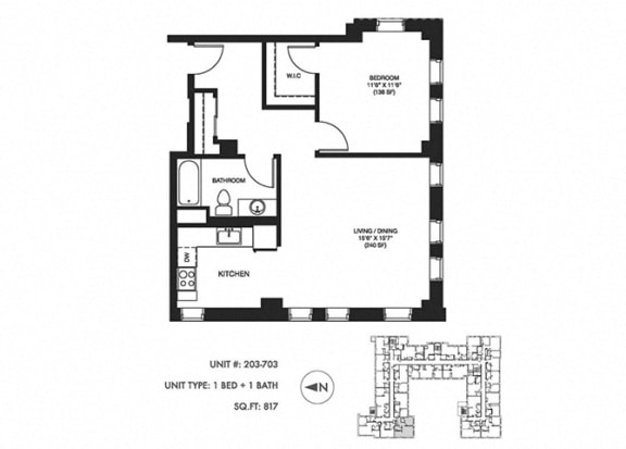 1 Bed 1 Bath 817 sqft Floor Plan at Somerset Place Apartments, Chicago, IL, 60640