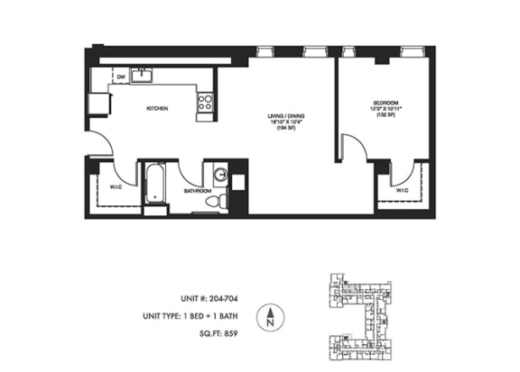 1 Bed 1 Bath 859 sqft Floor Plan at Somerset Place Apartments, Chicago, IL