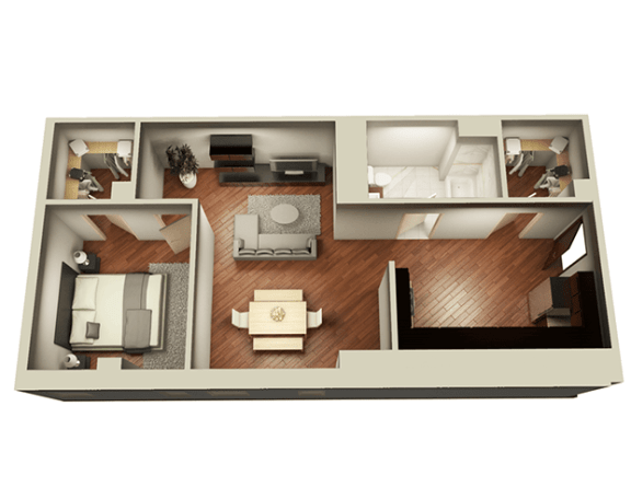 1 Bed 1 Bath 859 sqft 3D Floor Plan at Somerset Place Apartments, Chicago, Illinois