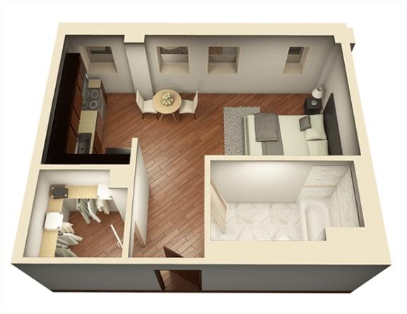 Floor Plan  Studio 493 sq ft 3D Floor Plan at Somerset Place Apartments, Chicago