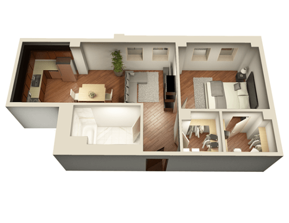 1 Bed 1 Bath 737 sqft 3D Floor Plan at Somerset Place Apartments, Chicago, IL, 60640