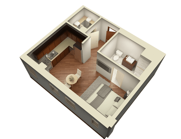 Floor Plan  Studio 469 sq ft 3D View Floor Plan at Somerset Place Apartments, Chicago, Illinois