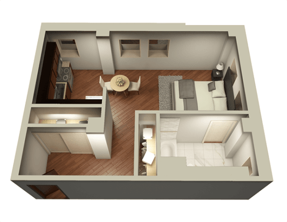 Studio 537 sqft 3D Floor Plan at Somerset Place Apartments, Illinois