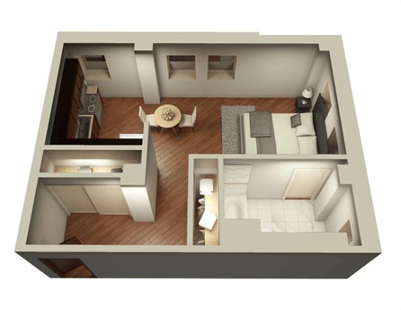 Floor Plan  Studio 537 sqft 3D Floor Plan at Somerset Place Apartments, Illinois