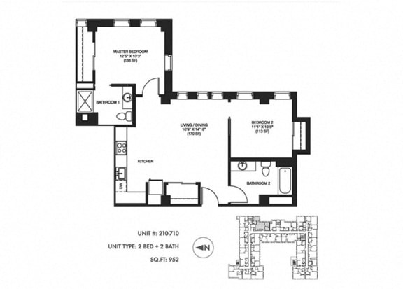 2 Bed 2 Bath 952 sqft Floor Plan at Somerset Place Apartments, Chicago, 60640