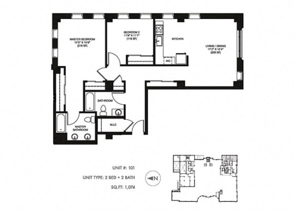 2 Bed 2 Bath 1055 sqft Floor Plan at Somerset Place Apartments, Chicago, 60640