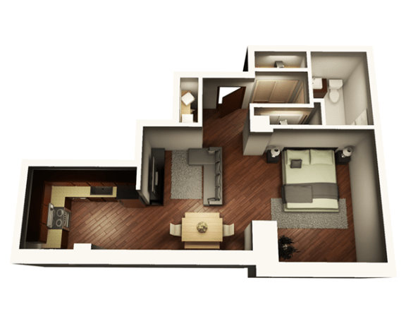 Floor Plan  1 Bed 1 Bath 646 sqft
