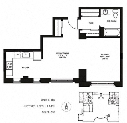 1 Bed 1 Bath 646 sqft Floor Plan at Somerset Place Apartments, Chicago, IL, 60640