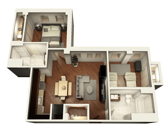 2 Bed 2 Bath 952 sqft 3D Floor Plan at Somerset Place Apartments, Chicago