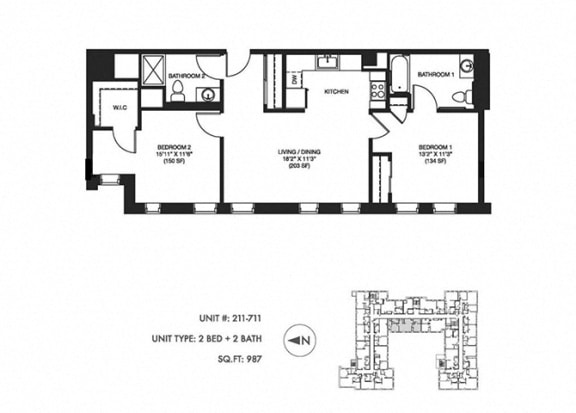 2 Bed 2 Bath 987 sqft Floor Plan at Somerset Place Apartments, Chicago, Illinois