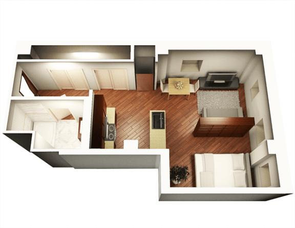 Studio 548 sqft 3D Floor Plan at Somerset Place Apartments, Illinois, 60640