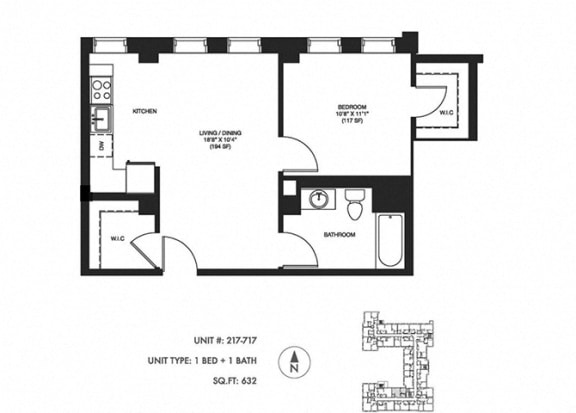 1 Bed 1 Bath 632 sqft Floor Plan at Somerset Place Apartments, Illinois, 60640