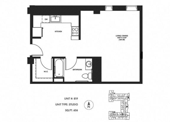 Studio 606 sqft Floor Plan at Somerset Place Apartments, Illinois