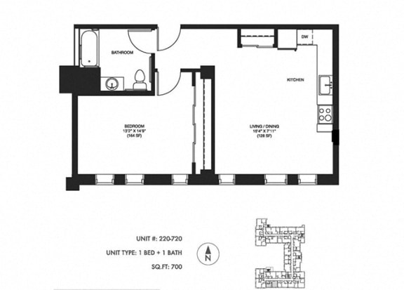 1 Bed 1 Bath 700 sqft Floor Plan at Somerset Place Apartments, Chicago, IL