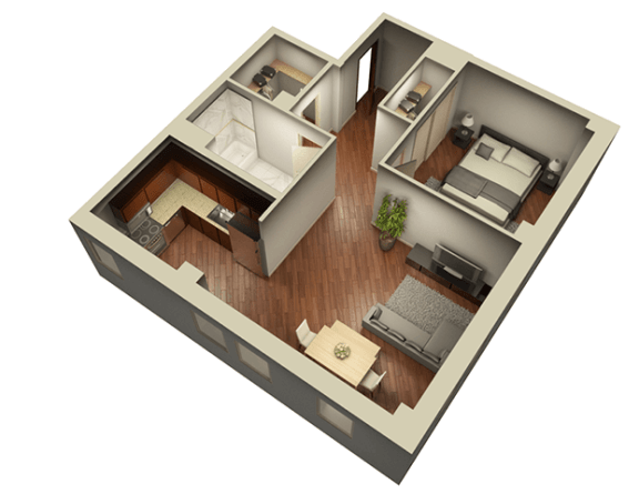 Floor Plan  1 Bed 1 Bath 804 sqft 3D Floor Plan at Somerset Place Apartments, Chicago, 60640