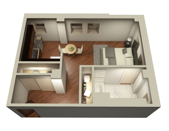 Studio Floor Plan Uptown Chicago at Somerset Place Apartments, Illinois, 60640
