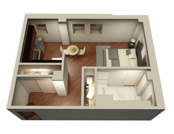 1 bedroom floor plan at Somerset Apartments in Uptown Chicago
