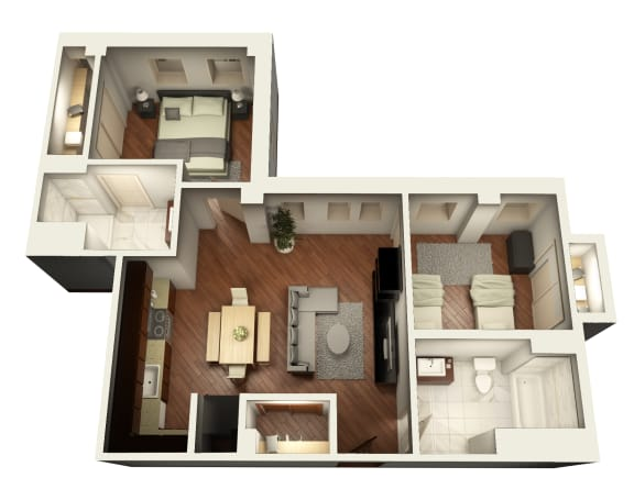 Standard Two Bedroom Floor Plan at Somerset Place Apartments, Chicago