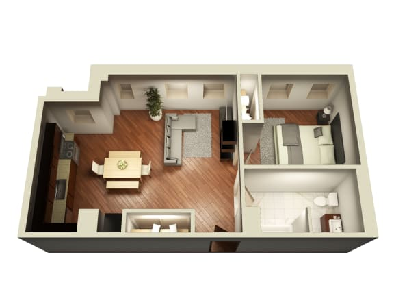 Livable One Bedroom Floor Plan at Somerset Place Apartments, Illinois, 60640