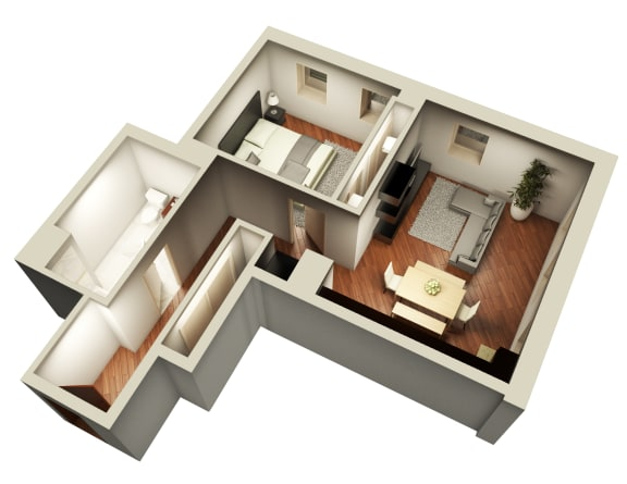 One Bedroom Expansive Floor Plan at Somerset Place Apartments, Chicago, IL, 60640