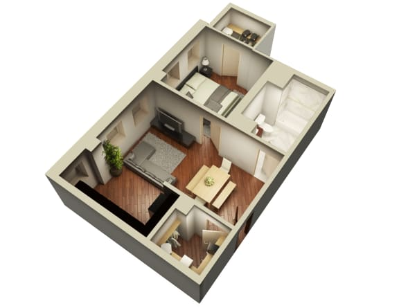 Suite One Bedroom Floor Plan at Somerset Place Apartments, Chicago, Illinois