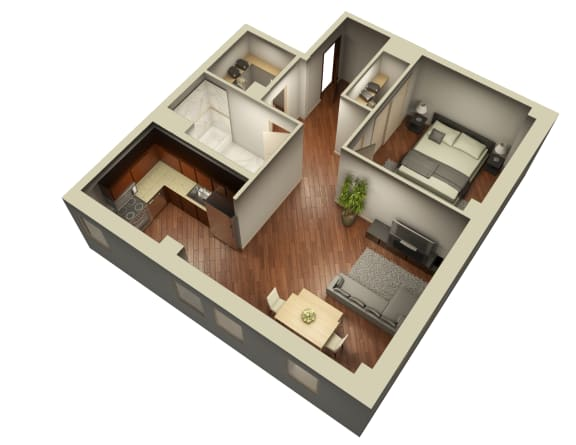Upscale One Bedroom Floor Plan at Somerset Place Apartments, Illinois