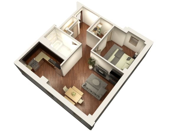 Livable Floor Plan 3D View at Somerset Place Apartments, Illinois, 60640