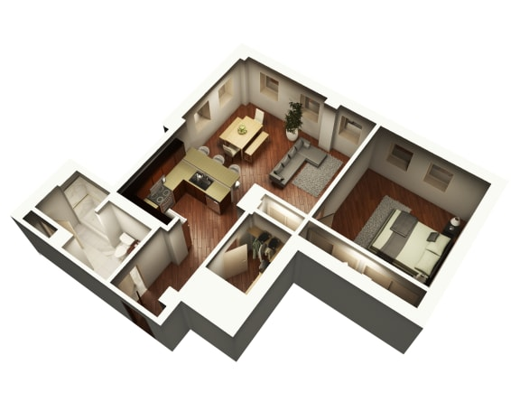 Exquisite Floor Plan 3D View at Somerset Place Apartments, Chicago, Illinois