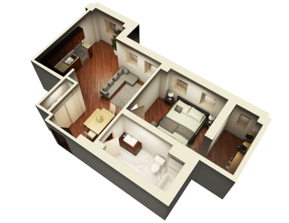 Glamorous Floor Plan 3D View at Somerset Place Apartments, Chicago