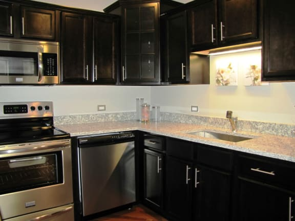 High-fashion kitchen fixtures at Somerset Place Apartments, Chicago